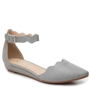 Chinese Laundry Grey Ankle Strap Flats
